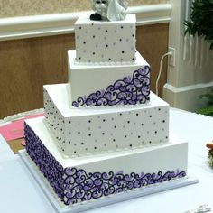 purple square wedding cake