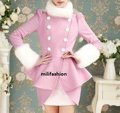 Free shipping Pink fashion lady woolen tight coat_Fashion Coats_Mili fashion Trade Co.Ltd