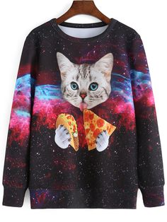 Love this Color Cat Galaxy Print Sweatshirt ... wear it with a short skirt in black or burgundy...  shein.com