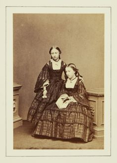 Princess Helena and Princess Louise, June 1860 [in Portraits of Royal Children Vol.5 1860-1861]   Royal Collection Trust