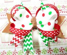 Peppermint Polka Dots and Chevron Christmas Boutique Stacked Hair Bow | c0nfus3dgurl - Accessories on ArtFire