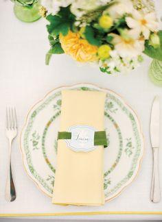 yellow + green vintage china | KT Merry #wedding