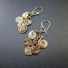 Nouveau 67 Hammered spiral earrings available in 14k gold fill or sterling silver