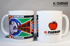 Taza de Al Cuadrado de cerámica, apta para microondas y lavavajillas, con ilustración inspirada en Rodchenko. Mugs, Tableware, Microwaves, Dishwasher, Products, Dinnerware, Tablewares, Mug, Place Settings