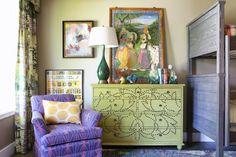 Purples and greens define a boy's room by Lindsay Pennington. Living Room Furniture, Living Room Decor, Bedroom Decor, Interior Decorating, Interior Design, Luxury Interior, Kids Bedroom, Home Remodeling, House Design