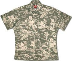 0775c88bb Woodcut Hawaiian Men's Reversed Print RJC Shirt, vintage print with 2pc  collar, full button