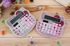 Lovely Hello Kitty Calculator Pink Twinkling 10+2 Digital Solar Pink Cute Luxury Rhinestone Crystal Diamond Calculator for Girls