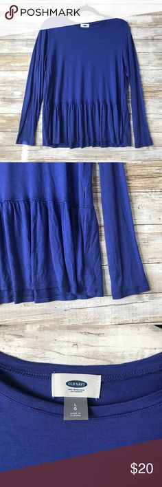 Old Navy Peplum Top • New Without Tags // Never Wore • Very beautiful royal blue color • Material is soft almost silky to touch • Perfect for Fall/Winter  💓Don't like the price? Make me an offer! 💓Fast Shipping! Same or Next Day! 💓 Bundle for a discount! 💓Thank you for checking out my closet! Old Navy Tops Tees - Long Sleeve