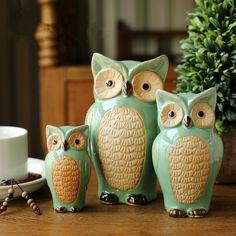 Ceramic Owl Family