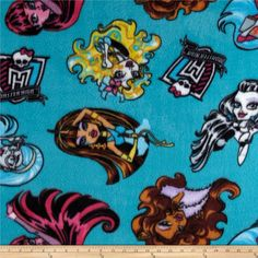 Monster+High+Fabolous+Poses+Lagoon+Blue from @fabricdotcom  Licensed+by+Mattel,+Inc.,+this+medium+weight+fleece+is+anti-pill+and+ultra+soft.+It+is+perfect+for+creating+jackets,+vests,+scarves,+mittens,+throws+and+more!+This+is+a+licensed+fabric+and+not+for+commercial+use.