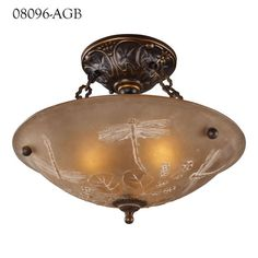 Classic form and Summertime Dragonfly whimsy combine in this delightful ceiling fixture | Discover Lighting