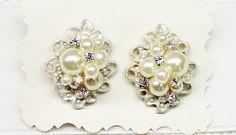 Pearl Stud Earrings- Pearls and Rhinestones- Bridesmaid Earrings- Vintage-Inspired Statement Studs- Bridal Earrings- Pearl Bridal Earrings by BrassBoheme on Etsy https://www.etsy.com/listing/128499538/pearl-stud-earrings-pearls-and