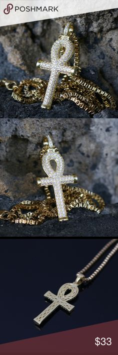 Gold Egyptian Hip Hop Ankh Necklace Mini Gold Egyptian Ankh Key Pendant Charm Necklace  Chain is 14k gold plated over stainless steel.White lab simulated diamonds.Pendant size is 33mm in length.This pendant comes with a 2mm width 18,20,22,24 or 26 inch 14k gold plated 316 stainless steel box chain. Ts Verniel Accessories Jewelry