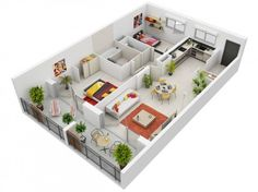 When you think of a modern apartment, we'd bet you'd visualize a lot of clean lines and natural light. This apartment plan captures just that with bright pops of color set against pristine white wall and floors. Natural light shines through the space from a wall of windows and glass doors leading to a charming balcony.