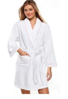 54e86b03d3 100% Cotton Women s White Short Spa Gown Bath Robe w  Pockets- S M L Size