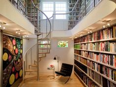 Two levelled library with spiral staircase. Creative Home Library Designs For a Unique Atmosphere Library Wall, Library Shelves, Bookshelves, Dream Library, Mini Library, Beautiful Library, Home Library Design, House Design, Modern Library
