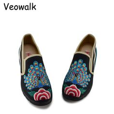 Veowalk Spring Woman Loafers Shoes Chinese Style Women Casual Peacock Embroidered Cloth Shoes Ladies Breathable Slip On Shoes en Pisos de las mujeres de Zapatos en AliExpress.com | Alibaba Group