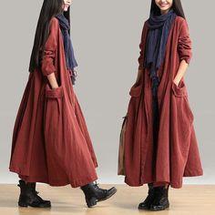 Women cotton linen loose fitting winter long coat