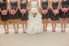 Pink and gray bridesmaids
