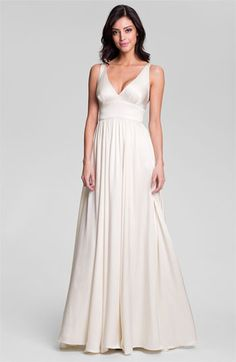 Nicole Miller 'Elizabeth' Crisscrossed Back Silk A-Line Gown available at Nordstrom, I can definitely see myself in the front of this, not sure what I think of the back
