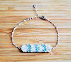 Bracelet en argent 925 tissage perles Miyuki blanc, turquoise et argenté