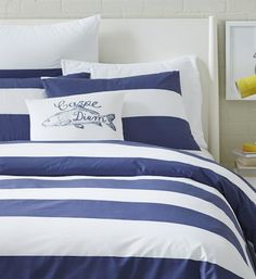 navy #blue and #white striped duvet cover http://rstyle.me/n/mtw4rr9te
