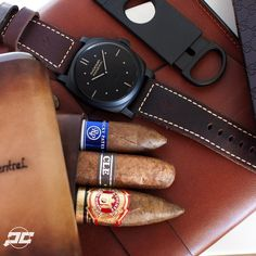 Time to start the weekend off right. #Panerai PAM577 1940's Radiomir with SLC dial. Cigars from @cigarsdirect. Custom #Cigar travel case from @gunnystraps and leather iPad case by @eliseleathergoods....