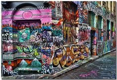 Graffiti in Hosiers Lane near Federation Square, Melbourne