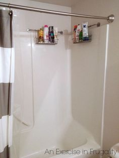 DIY Shower Organizer Hack How to Organize Your Shower with a Spice Rack-How on earth does a spice rack help keep my shower organized? You might be surprised! This is cheap and easy and is the perfect organization solution for small bathrooms! Bathroom Shower Organization, Bathroom Storage Solutions, Storage Spaces, In Shower Storage, Bathroom Ideas, Bathroom Rack, Small Bathroom Storage, Bathroom Makeovers, Simple Bathroom