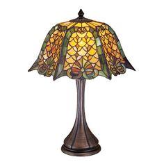 Meyda Tiffany 19876 Shell Diamond Table Lamp, Mahogany Bronze