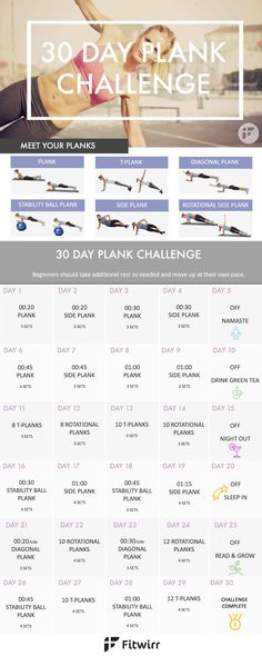 30 Day Plank Challenge and 6 plank variations to rotate during the plank challenge.