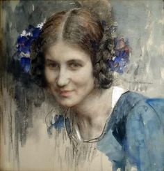 Edgar Maxence (French symbolist painter) 1871 - 1954, Portrait de Jeune Fille a la Robe Bleue,