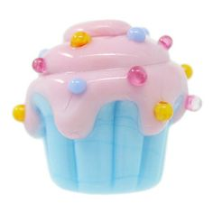 15mm Blue Cupcake with Pink Rainbow Sprinkled Frosting Bead by Natasha Puffer | Fusion Beads