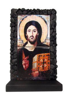 Jesus Icon  Christ Pantocrator of Sinai  OOAK by TerryTiles2014
