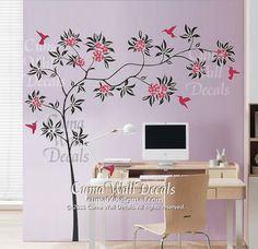 girl  wall decal birds wall sticker flower tree vinyl by cuma