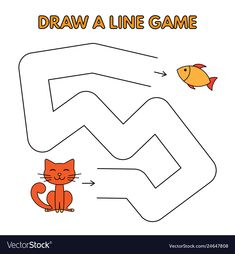 Cartoon cat game for small children - draw a line. vector design for kids education Letter Worksheets For Preschool, Preschool Learning Activities, Preschool Activities, Kids Learning, Logic Games For Kids, Math For Kids, English Stories For Kids, Line Game, Kitty Games