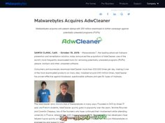 AdwCleanerがMalwarebytesに買収されました。