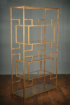 SuspenseEtagere in Renaissance Gold Finish Tubuluar SteelwithSix Beveled Glass Shelves AlsoAvailable in Special Order Finishes, Pricing Varies