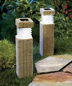 "NEW Outdoor 11"" LED Solar Lit Garden Pillars Yard Decor Lighting"
