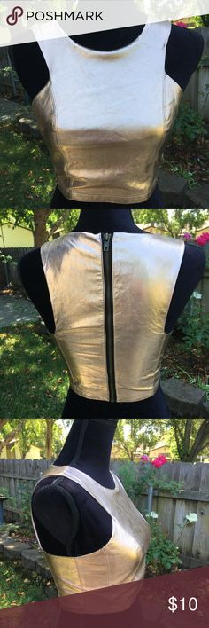 Rose gold crop top Faux leather crop top in gorgeous rose gold! Exposed zipper detail along length of back. Excellent condition from smoke-free and pet-free home. Forever 21 Tops Crop Tops