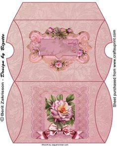 Pink rose medium pillow box on Craftsuprint designed by Berit Zakrisson - A nice pillowbox for smaller gifts. - Now available for download!
