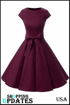 Summer Women Vintage Short Sleeve A-Line Dress Retro Rockabilly Swing Dress Slim Bow Tie Pleated Dress Trendy Dresses, Modest Dresses, Nice Dresses, Short Dresses, Fashion Dresses, Trendy Outfits, Vintage Dresses, Vintage Outfits, 1950s Dresses