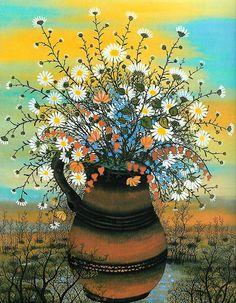 Ivan Rabuzin, Flower Vases, Flower Art, Flowers In Vase Painting, Define Art, Folk Print, Pebble Painting, Naive Art, Contemporary Artists
