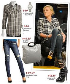 charlize theron plaid and heels