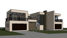 This modern 4 bedroom house plan features spacious rooms and spaces. A 643 sq meter, signature double storey house floor plan design with images. Garage House Plans, My House Plans, Luxury House Plans, Ranch House Plans, Modern House Plans, 4 Bedroom House Designs, Bedroom House Plans, Flat Roof House, Facade House