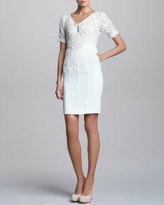 B21LU J. Mendel Short-Sleeve Dress with Lace Overlay