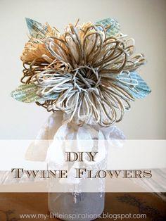 DIY Twine and raffia flowers with recycled paper leaves - Tutorial Fiori di spago e rafia con foglie carta riciclata - My Little Inspirations #twine #flowers #stringart #fiori #spago
