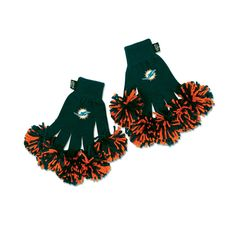 Miami Dolphins NFL Spirit Fingerz Embroidered Pom Gloves