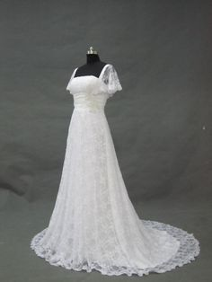 Long White Lace Wedding Dress Formal Cap Sleeves Beaded Bridal Gown Fashion Applique Wedding Party Dress New Lace Wedding Dress 2013