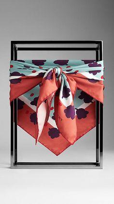 Burberry Reversible Silk Floral Print Square
